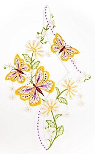Fensterdekoration Fensterschmuck Fensterbild Orchidee in lachs Plauener Spitze