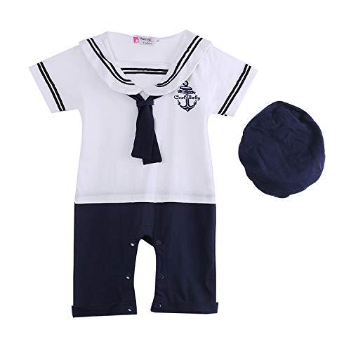 L&ieserram Blanco - Pantalones cortos Siamesi - Pelele con gorro para niño - Ideal para primavera - Verano - Otoño Color blanco. 0-12 meses