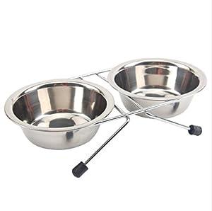 Dessin animé en acier inoxydable pour animal domestique Mangeoire double Gamelle pour chiens et chats
