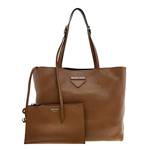 Brown Leather Prada Tote Includes Certificate of Authenticity and Dust Bag Made in Italy