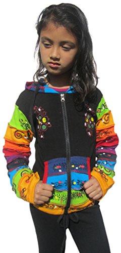 Little Kathmandu Kinder Schwarz Regenbogen Pixie Hood Baumwolle Jacke 4 Jahre