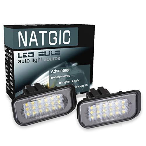 NATGIC 1 Paire LED Plaque d'immatriculation Lumière 3528 puces 18SMD Intégré Can-Bus étanche Plaque d'immatriculation Lumière LED Numéro Plaque d'immatriculation Lampe Assemblée 12V 2W - 6000K Blanc