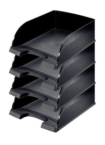 Leitz Briefkorb A4 Jumbo, 4er Pack, Schwarz, Mit extragroßem Fassungsvermögen, Plus Serie, 52330095