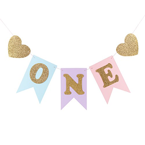 "LXZS-BH Blue and Pink 1st Birthday Banner, Glitter""ONE"" and Heart Shapes, for Baby Girl, Baby Shower, High Chair Decoration, Wall Decor"