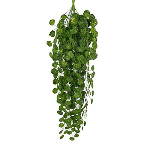 hunpta Lot de 2 guirlandes de feuilles de vigne artificielles à suspendre pour la maison, le jardin, la décoration murale Vert (B)