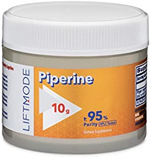 LiftMode Piperine - Enhances Absorption and Uptake of Supplements, Black Pepper Extract (Piper Nigrum) | Vegetarian, Vegan, Non-GMO, Gluten Free - 10 Grams (1000 Servings)