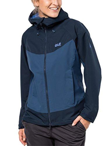 Jack Wolfskin Herren North Ridge Women Atmungsaktiv Wasserdicht Winddicht Outdoor Funktionsjacke Wanderjacke Regenjacke Wetterschutzjacke, Ocean Wave, XS