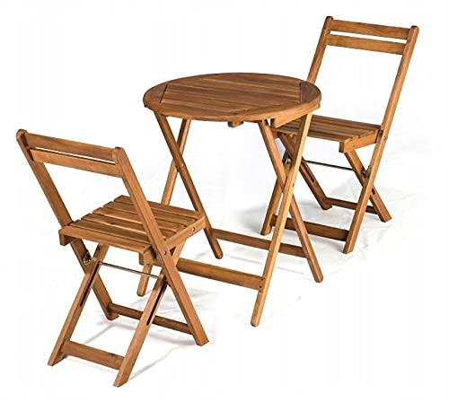 QLS Juego de muebles de balcón y jardín, 2 sillas pequeñas, madera de acacia, plegables, 60 x 60...