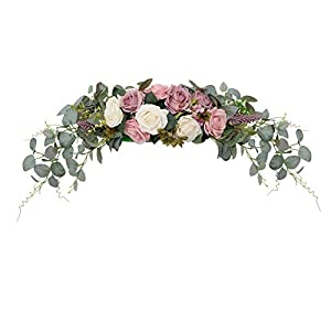 """Silk Flower Arrangements HiiARug Artificial Rose Flower Swag, 31 Inch Decorative Swag with Dusty Rose Hydrangeas Eucalyptus Leaves for Home Room Garden Lintel Wedding Arch Party Decor (Ivory Dusty Rose,31"""")"""