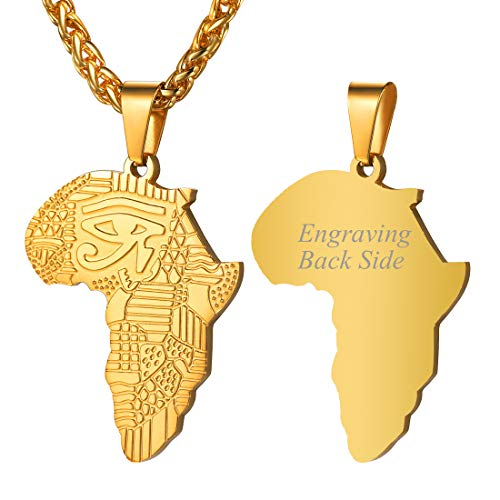 U7 Gold Africa Necklace Customized Text Back Side, Personalized Eye of Horus Grain Africa Map Pendant for Men Women