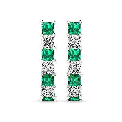 Aretes de aro con diamantes esmeralda IGI certificado, forma de princesa, pendientes de aro de boda, piedras natales de diamante HI-SI claridad de color 14K Oro rosa, Par