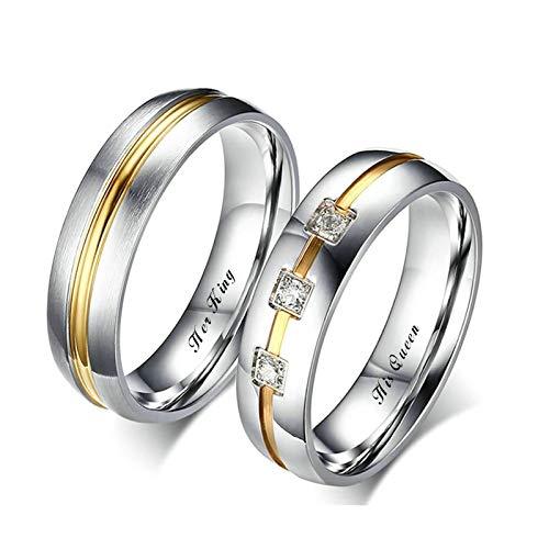 2PCS Eheringe Vintage Zweifarbiger Ring Gravur Her King und His Queen Vertrauensring Silver Gold Damen Gr.54 (17.2) & Herren Gr.65 (20.7)