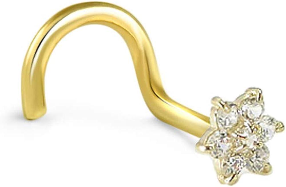 Nose Ring Bling Women's 14K Yellow Gold Nose Stud Ring 4.5Mm Christina Flower Cluster