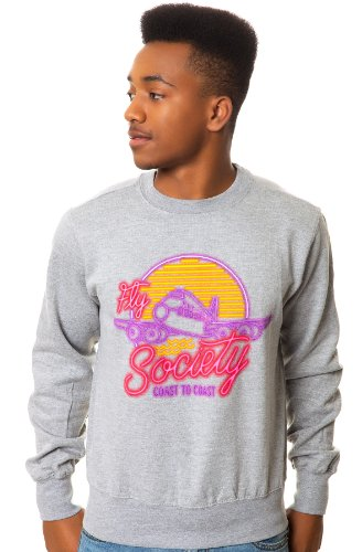 Fly Society Men's Neon Dreams Crewneck Sweatshirt Extra Large Athletic Heather