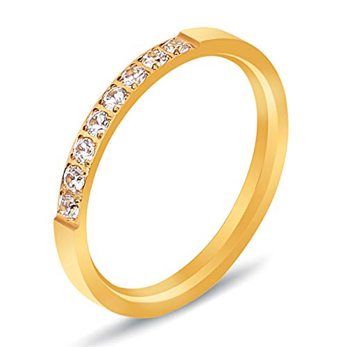 BGSH Simple Titanium Steel Ring Female Diamond Single Row Stainless Steel Diamond Ring 9 Gold Ring for Women Girls Sisters Friends Meaningful Jewelry Gift