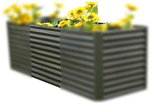 OUTFLEXX Hochbeet-Verlängerung aus Zinkalume in Anthrazit matt, ca. 80x90x84 cm, Erweiterung und Anbau für Frühbeete, Hügelbeete und Gartenbeete, tolles Zubehör, inkl. Montagematerial
