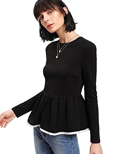Romwe Women#039s Elegant Ruffle Hem Long Sleeve Textured Peplum Top Black Medium