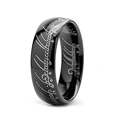 Anillo del poder de El Señor de los Anillos, color negro, talla 7–Sauron – Alta calidad