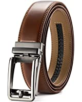 Men's Leather Ratchet Belt Dress with Slide Click Buckle ?1 3/8