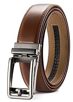 Chaoren Click Ratchet Belt Dress with Sliding Buckle 1 3/8  - Men s Belt Adjustable Trim to Exact Fit  Brown Belt Men