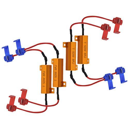 NATGIC 4pcs 50W 8 ohms Résistances de Charge LED Résistance de Charge de Phare Feux de Brouillard Décodeur LED Clignotants Résistance Décodeur Fil (Fix Hyper Flash, Avertissement Cancellor)