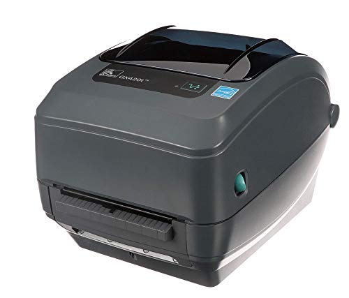 Zebra - GX420t Thermal Transfer Desktop Printer for Labels, Receipts, Barcodes, Tags - Print Width of 4 in - USB, Serial, and Ethernet Port Connectivity (Includes Peeler) - GX42-102411-000 (Renewed)