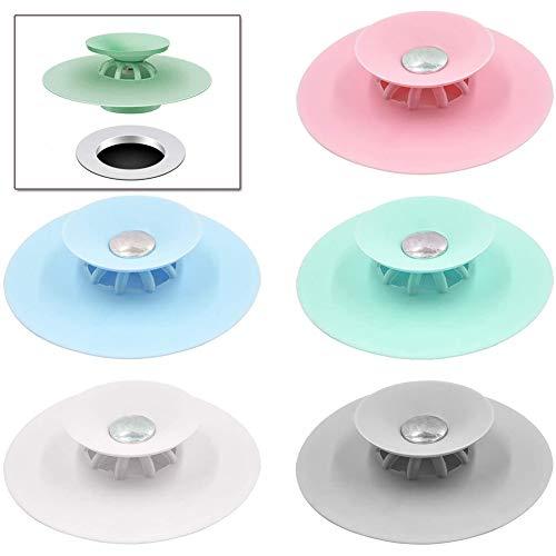 N-brand 5 STK. Flex Badewannenstöpsel Haarsieb Abfluss Stöpsel Küche Abflusssieb für Dusche Badezimmer Spüle Boden