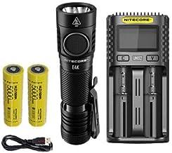 Combo: Lanterna Nitecore E4K de próxima geração – 4400 lúmens com NL2150HPi 5000mAh 21700 e NL2150HPR + Carregador Intelig...