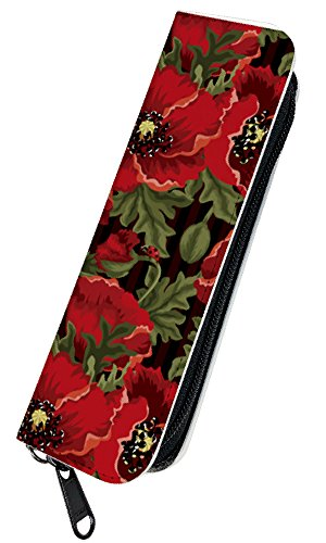 [PLOOMTECH JT-03S] プルームテック 電子タバコ ケース カバー ラウンドファスナー D. 花柄ブラックストライプ バラ ローズ 薔薇 フラワー かわいい 赤 レッド