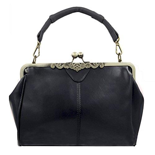 Abuyall Retro Kiss Lock Pu Leather Chains Minimalist Crossbag Bag Diamonds Appliques Shoulder Purse Handbag Totes Bag Satchel for Ladies S A3