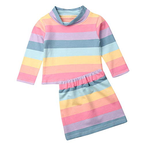 NvIEFE Peuter Baby Meisjes Lange Mouw Regenboog Strepen Outfits T-Shirt+Gestreepte Mini Rok Jurk Outfit Set