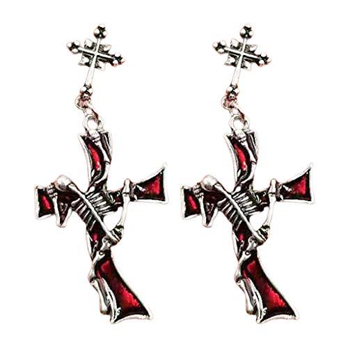 Oyrcvweuy Pendientes góticos estilo punk cruz patrón metal rojo rhinestone oído colgante, Medium, Aleación,