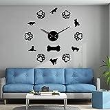 WSDDNXM Cavalier King Charles Rottweiler Pastor Alemán Husky Diferentes Razas De Perros Relojes De Pared Arte De Pared DIY Reloj De Pared Gigante Sin Marco (Negro, 12 Pulgadas)