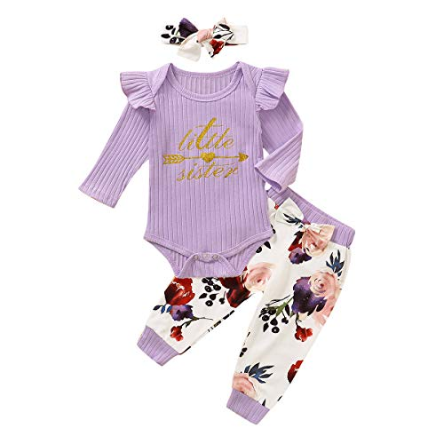 Newborn Girl Outfits Long Sleeve Rompers Bodysuit and Floral Long Pants 3-6 Months Clothes Set Purple
