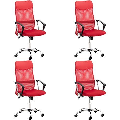 Lüllmann Washington - Silla giratoria de oficina (4 unidades), color rojo