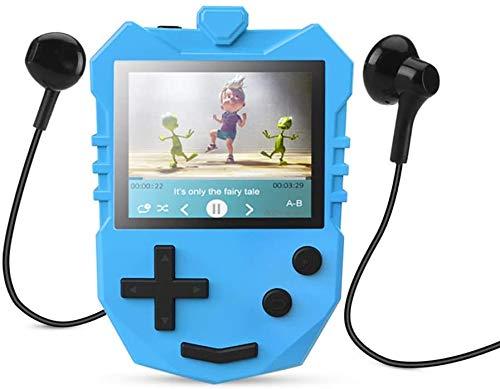 """AGPTEK MP3 Player Kinder, 8GB Autodesign Video Player 1,8\"""" TFT LCD Bildschirm mit Lautsprecher& Kopfhörer, Tragbarer Musikplayer unterstützt UKW-Radio, Schlaftimer, Sprachaufnahme und Spiele usw. Blau"""