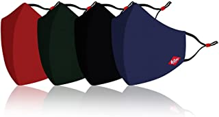 Lee Cooper Lightweight Cotton Face Mask for Outdoor Protection, Super Breathable & Resuable Cloth - Pack of 4