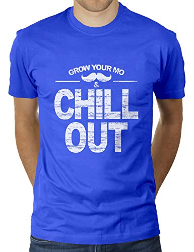 KaterLikoli Grow Your Mo and Chill Out - Camiseta para hombre azul real XL