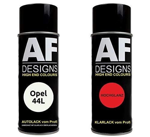 Alex Flittner Designs Autolack Spraydose Set für Opel 44L FORSTGRUEN Basislack Klarlack Sprühdose 400ml