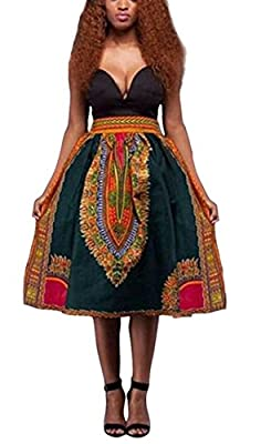 Womens Floral African Printed Casual High Waisted A Line Maxi Long Skirt with Pockets