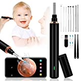 Ear Wax Removal Tool Ear Cleaner with Camera 1296P FHD Wireless Otoscope with 6 LED Lights, 16pcs Ear Pick Compatible with iOS, IPad & Android, Safe Ear Endoscope Cleaner for Adults, Children & Pets