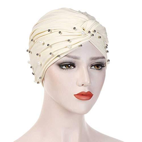 BWCGA Cap Chemo Hijab con Cuentas Cabeza Cubierta del Abrigo de la Bufanda de la India elástico Turbante Sombrero (Color : G)