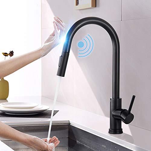 Onyzpily Induktive Touch küchenarmatur Schwarz Edelstahl mit ausziehbar 360° drehbar Armatur Spüle Mischbatterie Einhebel Spültischarmatur Küchen Wasserhahn Dual Outlet Wassermodi