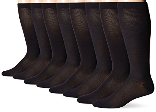 MediPeds Nylon Poly Support Over The Calf Socks, 4 Pairs,Black,L( Shoe Size: 9-12)