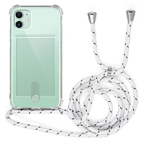 MyGadget Funda Transparente con Cordón para Apple iPhone 11 - Carcasa Portatarjetas con Cuerda y Esquinas Reforzadas en Silicona TPU - Blanco