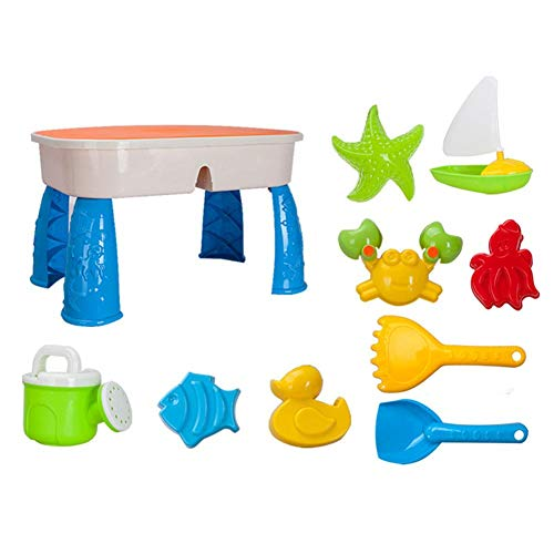 2 in 1 Sand Water Play Table Toys Set for Kids, Including Beach Toys Accesaries, Best for Boys Girls, Playing Toys for Outdoor, Vacation, Holiday, Beach