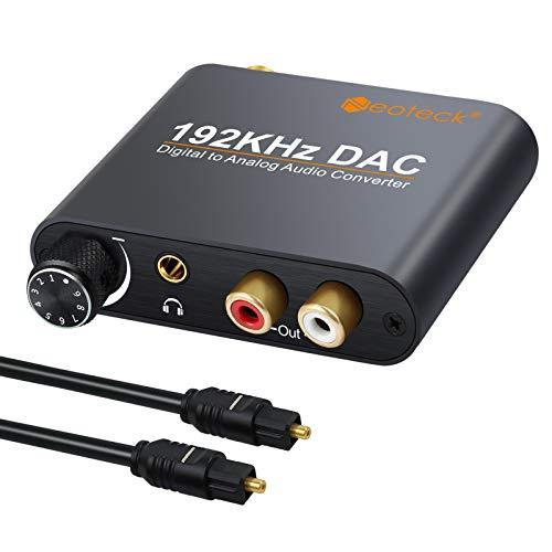 Neoteck DAC Convertitore 192Khz Controllo Volume - Adattatore di Alluminio da Digitale SPDIF Coaxial Toslink ad Analogico Stereo L/R RCA 3.5mm Jack Audio con USB Cavo Ottico per PS3 DVD PS4 Sky