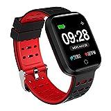 Azorex SmartWatch Multifunción Reloj Inteligente Cuadrado Impermeable IP67, Pulsera Actividad Control Remoto Correa Silicona Rojo Q8-Goma-RJ
