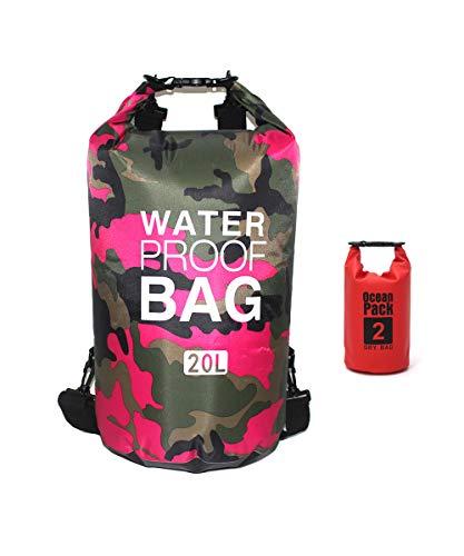 Bolsa impermeável Bycc Bynn camuflada 5L/ 10L/ 15L 20L/ 30L, saco de compressão seca que mantém o equipamento seco para caiaque, passeios de barco, rafting, pesca e acampamento com 2L pequena bolsa impermeável (rosa vermelho, 10L)