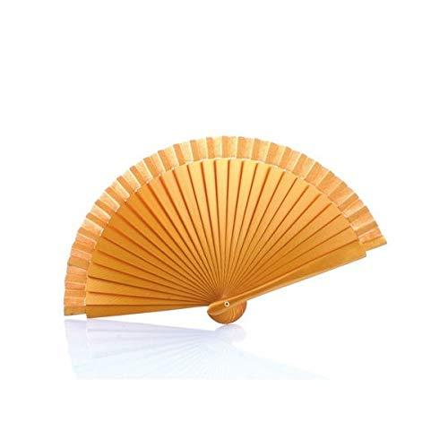 Vasara Abanico de madera liso-Oro - Abanicos para Detalles de Bodas baratos y originales Invitadas